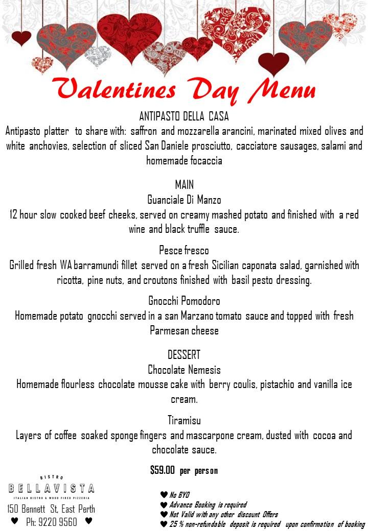 Bistro Bellavista Valentines Day Menu